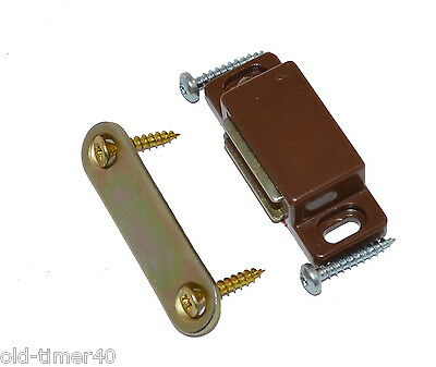 2 Strong Brown Magnetic Door Catches + Screws 6kg Pull