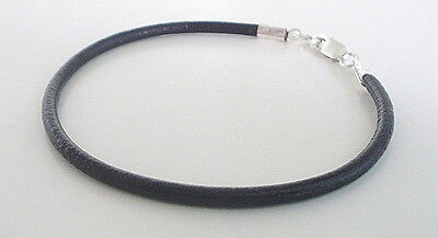 Mens Black 3mm Leather Thong Bracelet Wristband Cuff with 925 Sterling Silver