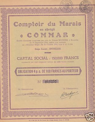 "Belgium""Marais-Commar""100 Francs 1944 Extra Fine Condition"