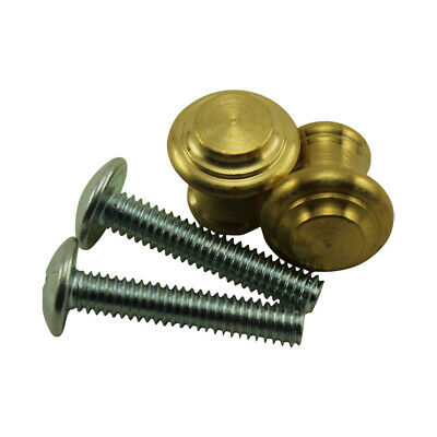 Solid Small Satin Brass Piano Desk Knobs - 1 pair - New