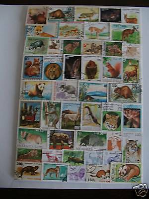 Timbres Animaux Sauvages : 100 Timbres Tous Differents / Wildlife Stamps ****