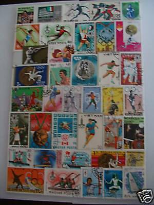 Lot Timbres Sports Jeux Olympiques D'ete : 100 Timbres Tous Differents