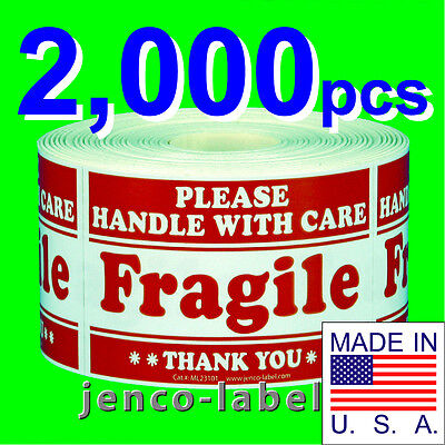 ML23101, 2,000 2x3 Handle With Care Fragile Label/Sticker