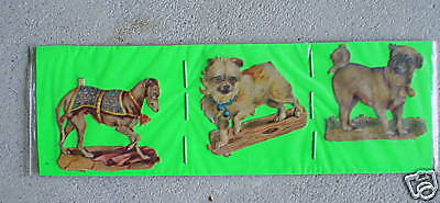 Lot of 3 Old Small Diecuts Dogs Horse LOOK