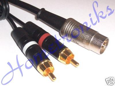 AUDIOPHILE GOLD 5 PIN DIN PLUG TO 2x PHONO (RCA) PLUGS CABLE, LEAD FOR QUAD - 1M