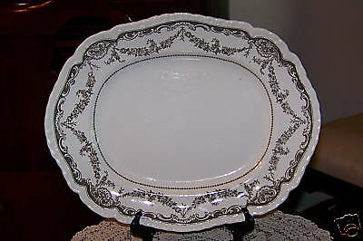 Booths - Cheswick (Brown on White)- 14-in. Oval Platter