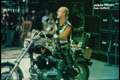 JUDAS PRIEST POSTER Rob Halford Motorcycle on Stage HOT