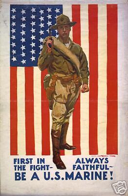 WWI Faithful US Marine (USMC) Recruiting Poster 1922