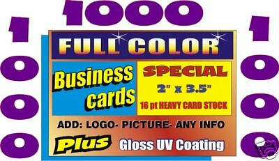 2 SIDED 1000 Business Cards Glossy + Free Custom Design