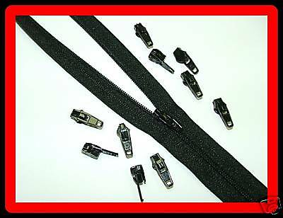 50 Mt Black Upholstery Zips Cushions Continuous Zipping