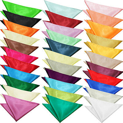 DQT Premium Satin Solid Plain Wedding Groom Pocket Square Handkerchief Hanky