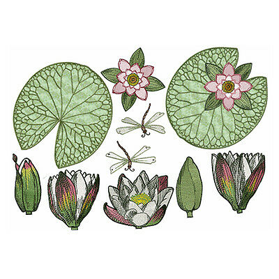 """ABC Designs Water Lilies Machine Embroidery 5 Designs Set for 5""""x7"""" hoop"""