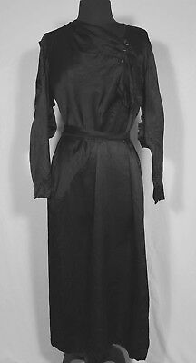 EXCEPTIONAL FRENCH 1930'S BLACK SATIN *PLUS SIZE DRESS