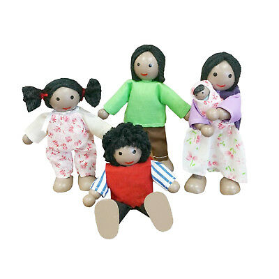 NEW Fun Factory Wooden Doll House Family of 5 Black Ethnic Posable Dolls