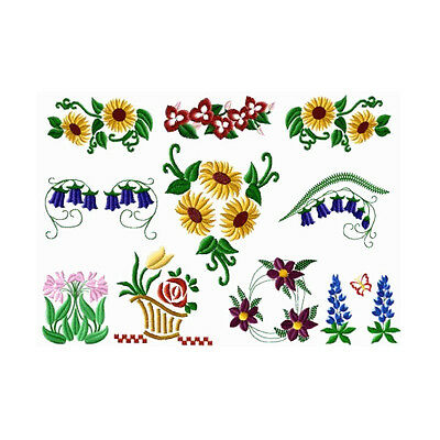 "ABC Designs 10 FLOWERS Machine Embroidery Designs Set for 4""x4"" Hoop"