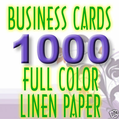 1000 Custom White Linen Uncoated Business Cards