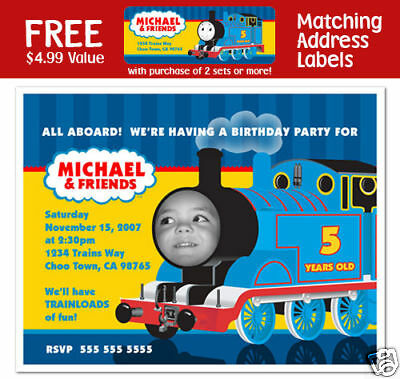 8 Thomas The Tank Engine Train Birthday Party Personalized Photo Invitations