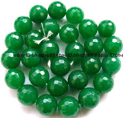Beautiful! 13mm Green Jade Round Faceted Loose Beads 14