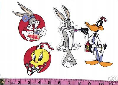 Tweety Nurse Bugs Bunny Doctor Fabric Iron Ons !!!