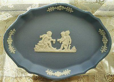 Wedgwood/Jasperware SCALLOPED OVAL Blue w. White Relief Tray