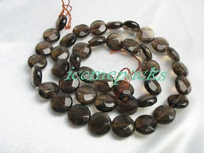 """wholesale 15.5""""  faceted smoky quartz coin beads nature 10mm"""