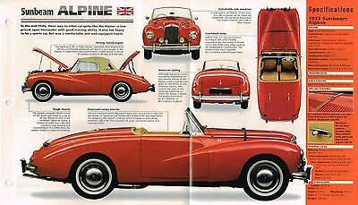 1953/1954/1955 SUNBEAM ALPINE SPEC SHEET/Brochure