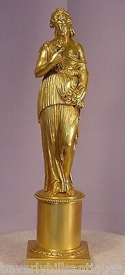 Beautiful Antique Classical Gilt Bronze Lady w/ Flowers