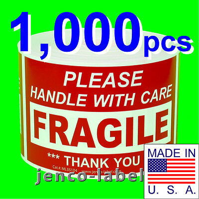 ML35104, 1,000 3x5 Handle With Care Fragile Label/Sticker