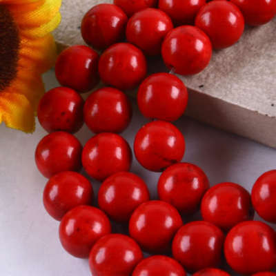 10MM Red Howlite Turquoise Round Ball Loose Beads Gem