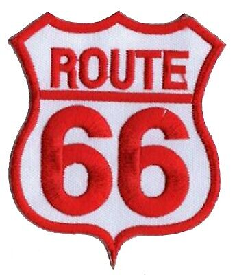 Patche écusson Route 66 rose thermocollant transfert patch