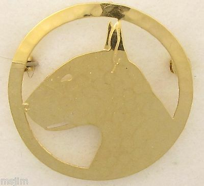 Bull Terrier Jewelry Large Gold Locking Back Pin