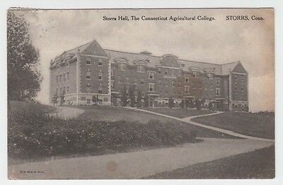 1917 Postcard Storrs Hall, The Connecticut Agri College