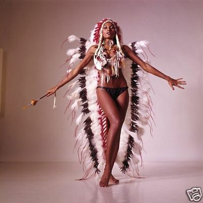 Pam Grier Barefoot In Panties & Indian Headdress Photo