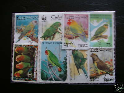 Timbres Oiseaux / Perroquets : 25 Timbres Tous Differents / Birds Stamps