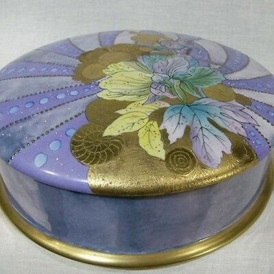 """b840: UNICA 8½"""" Handpainted Signed Cake Box LIMOGES **MARKED DOWN * SALE**"""