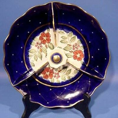 B256: Flowers on Cobalt Blue Tri-Lobed Bowl FLORA GOUDA