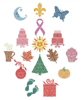 ABC Designs Frilly Symbols Machine Embroidery Designs 5x7 Hoop