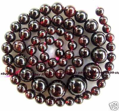 Natural Red Garnet 4-10mm Round graduated Beads 15''