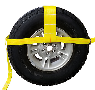 """13""""-35"""" TOW DOLLY ADJUSTABLE STRAPS f AXLE CAR TRANSPORT 4X4 TIE DOWN CLEVIS"""