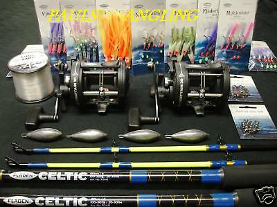 2 x Fladen Boat Fishing Rods + Reels + Tackle