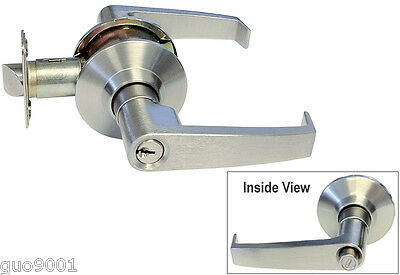 Push Button Handicap Friendly Entry Satin Nickel Lever Handle Door Lock keyed