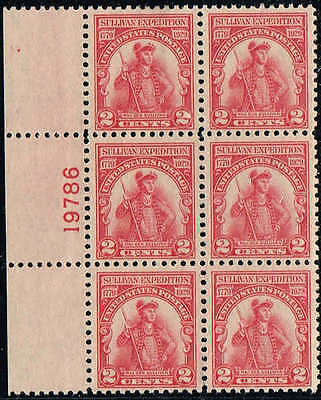 #657 LEFT SIDE PB #18786 1929 2c SULLIVAN EXPEDITION ISSUE MINT-OG/NH-GUM SKIP