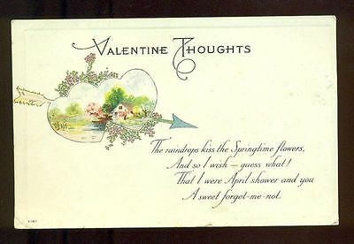 Raindrops Kiss VALENTINE THOUGHTS Joined Hearts Arrow Cottage Vintage Postcard