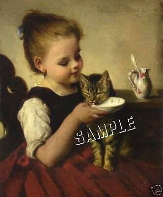 "VICTORIAN Girl ""FEEDING KITTEN"" Cat *CANVAS* Art LARGE"