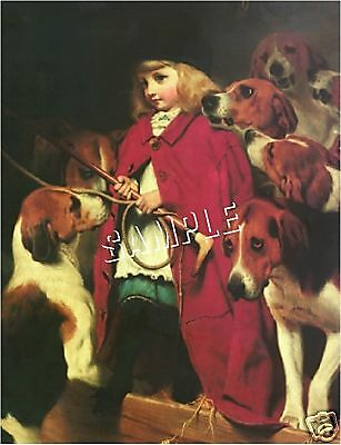 "VICTORIAN Foxhunt GIRL Foxhounds CANVAS Giclee Art Print - LARGE 13"" x 19"""