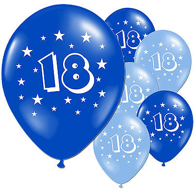 "10 Light Dark Blue 18th Birthday 11"" Pearlised Balloons"