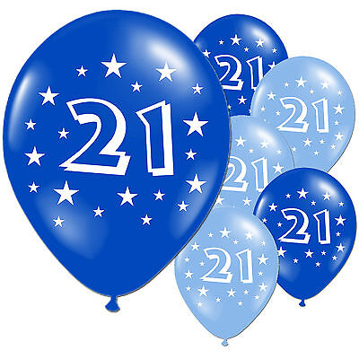 "10 Light Dark Blue 21st Birthday Party 11"" Pearlised Latex Balloons"