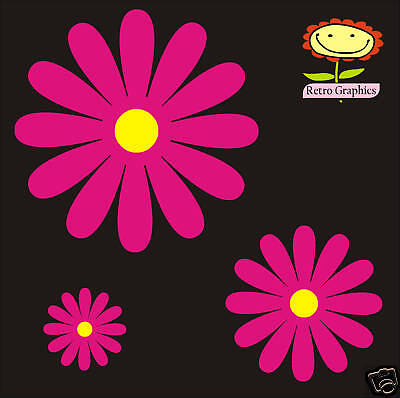 33 Daisy Flowers Car Nursery Stickers decals ANY COLOUR WINDOW WALL BODY PANEL