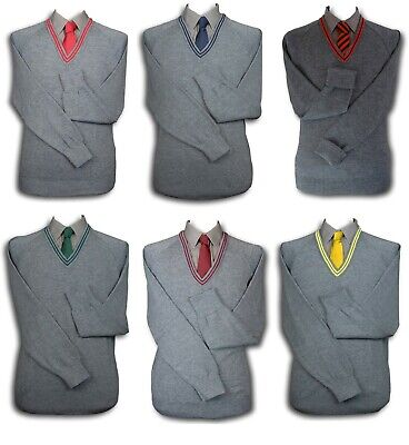Grey School Uniform 'V' Neck Jumper - 2 Trim Colours + Plain - Adult Sizes