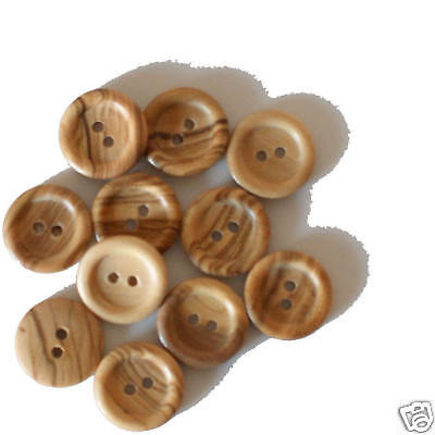 25 x Two Hole 19mm Rounded Natural Wooden Buttons
